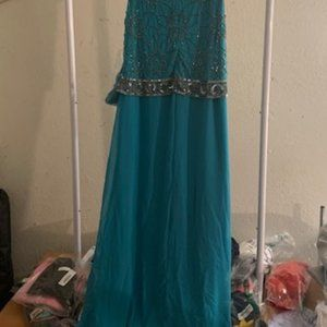 J Kara Aqua/Mercury Antique Sleeveless Dress 14P